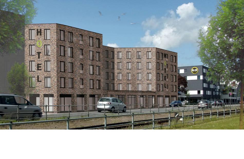 AZ309 Visualisierung Hotel Kiel Uebersicht Bundb Neubau Verblender