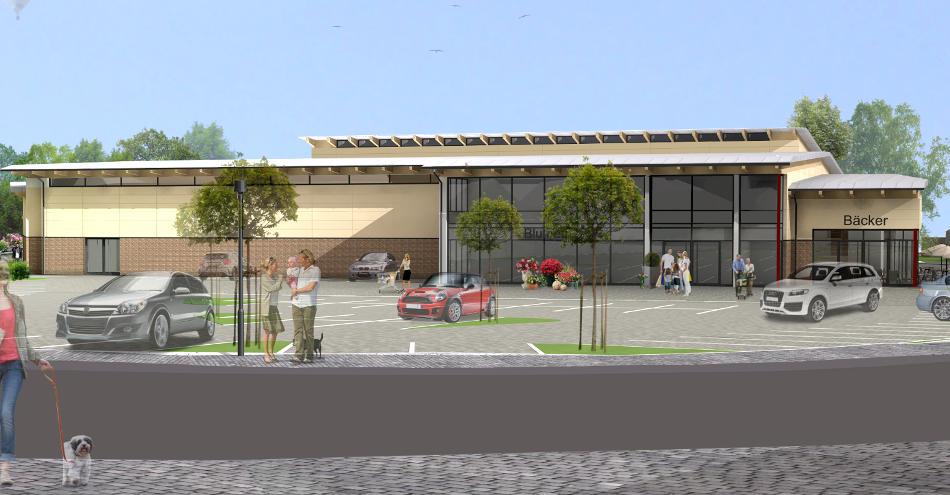 Az140 Scheessel Einzelhandel Neubau Einkaufen Vollsortimenter Frontal