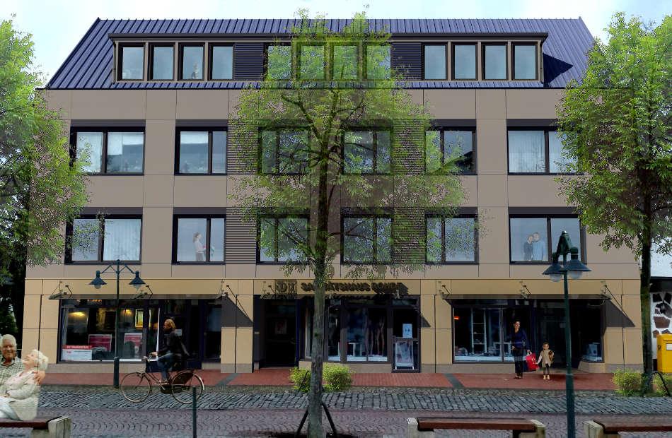 Az203 Visualisierung Geschäftshaus Fassadengestaltung Sonnenschutz Modernisierung Gaube Rotenburg