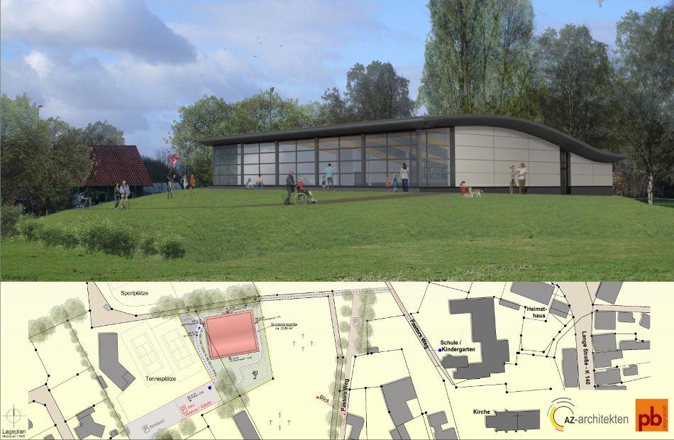 Az210_Turnhalle_Passivhausstandard_Gehrde_Neubau_Entwurf_Ausführung_Visualisierung_Lagplan