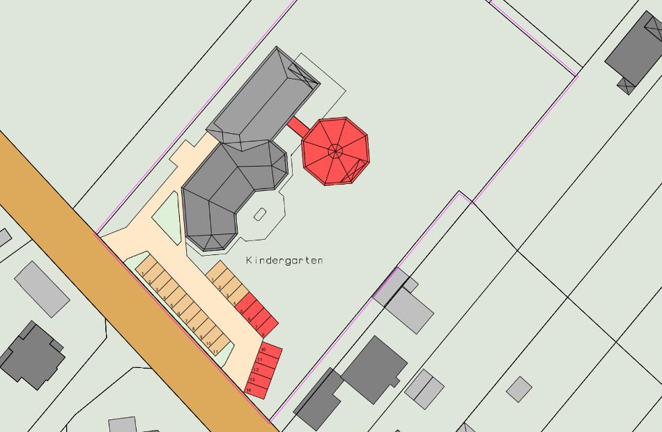 Az318_Erweiterung_Kindertagesstätte_Lauenbrück_Lageplan_Dachaufsicht_Neubau